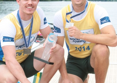 Belonogoff and McRae with medals - Copyright Rowing Australia