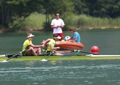 Post Finish Kehoe and Aldersey - Aiguebelette - COPYRIGHT ROWING AUSTRALIA