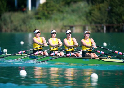 Women's Quadruple Scull in action